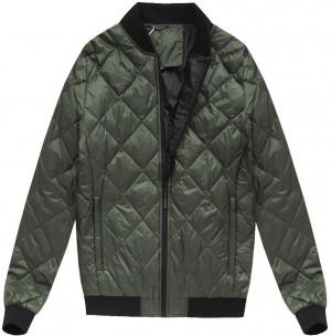 Khaki pánská bunda s přírodní vycpávkou (5022) khaki