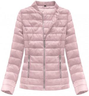 Prošívaná bunda v pudrově růžové barvě se stojáčkem (R2605) růžová S (36)