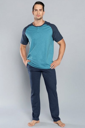 Italian Fashion Umberto kr.r. dl.k.  Pánské pyžamo XL mořská/tmavě modrá