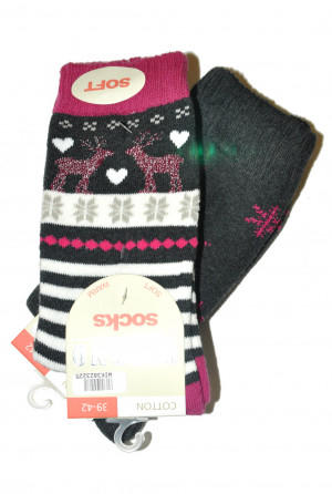 Dámské ponožky WiK Thermo Socks Cotton 38232 A'2 černá-šedá 35-38