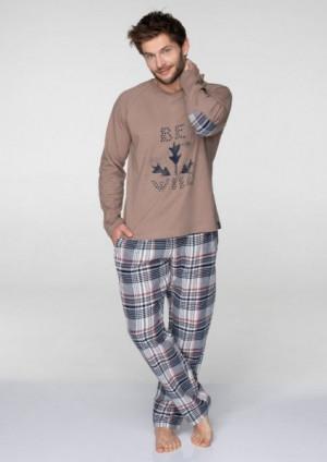 Key MNS 041 B19 pánské pyžamo XL hnědá-kostka
