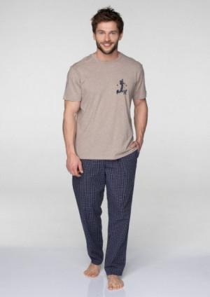 Key MNS 043 B19 pánské pyžamo XXL béžová-tmavě modrá