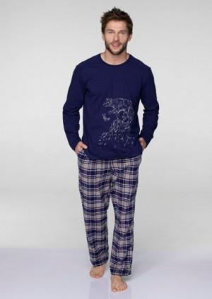Key MNS 044 B19 pánské pyžamo XXL tmavě modrá-béžová