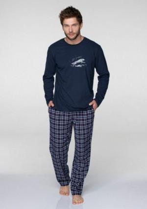 Key MNS 045 B19 pánské pyžamo XXL tmavě modrá-kostka