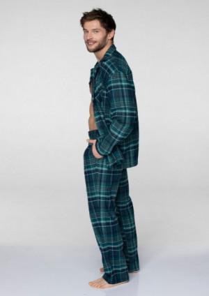 Key MNS 048 B19 Rozepínané pánské pyžamo  XL tmavě zelená-tmavě modrá
