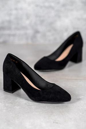 Originální černé  lodičky dámské na širokém podpatku