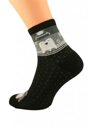 Dámské zimní ponožky Bratex Women Vzory, polofroté 051 bordó 36-38