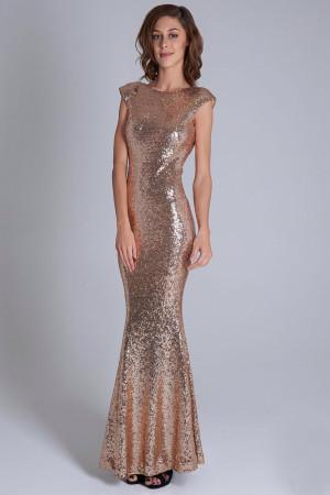 Dámské večerní šaty 15735 - YourNewStyle  zlatá