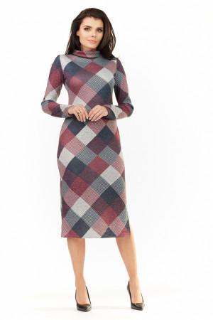 Dámské šaty model 109806 - Awama  červená-mix barev-tm.šedá