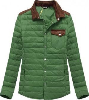 Zelená prošívaná bunda s límcem (X69LJX) zelená
