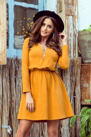 NANCY - Dámské šaty v hořčicové barvě se zipem 283-1
