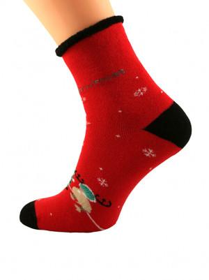 Dámské ponožky Bratex 0907 X-Mass Socks  červená 39-41