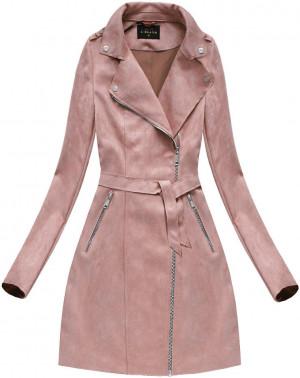 Semišový kabát ve starorůžové barvě (6004BIG) růžová
