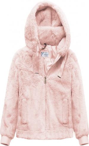 Plyšová bunda v pudrově růžové barvě s kapucí (2019) růžová XS (34)