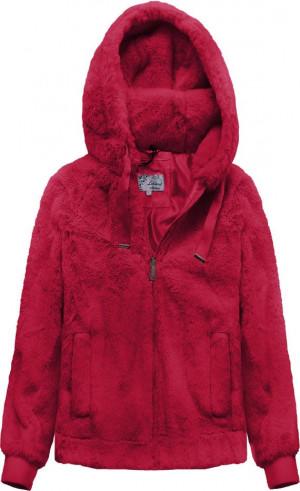 Červená plyšová bunda s kapucí (2019) červená XS (34)