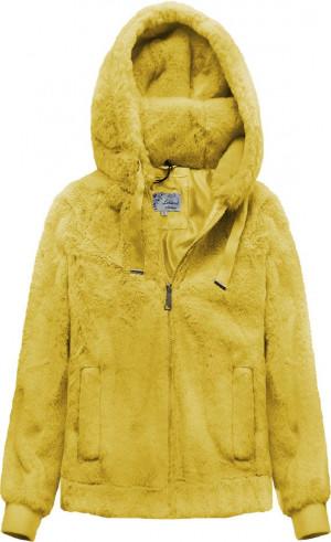 Žlutá plyšová bunda s kapucí (2019) žlutá XS (34)