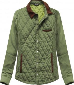 Prošívaná bunda v olivové barvě s límcem (25004LJ) zelená