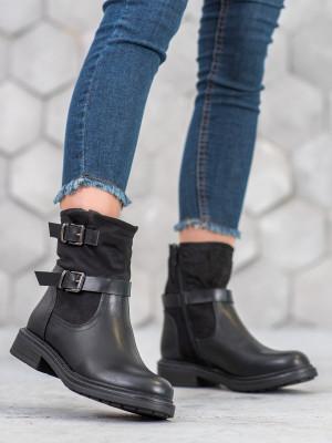 Exkluzívní dámské  kotníčkové boty černé na plochém podpatku