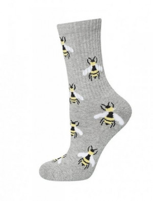 Soxo Półfrota 1173 Vzorované dámské ponožky 35-40 šedá