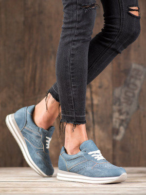 Trendy  tenisky modré dámské bez podpatku