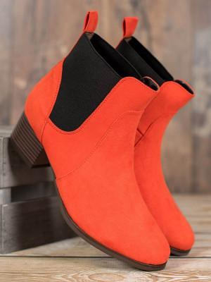 Exkluzívní dámské  kotníčkové boty oranžové na širokém podpatku
