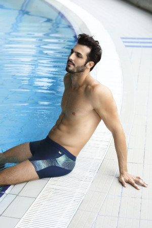 Pánské plavky Self S 99 K tmavě modrá-meruňková