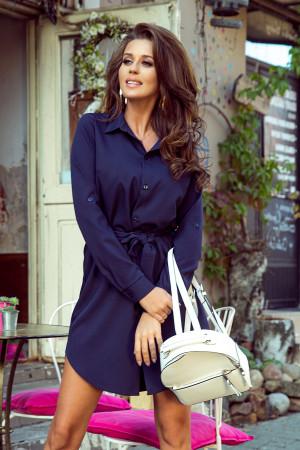Tmavě modré dámské košilové šaty s knoflíky 288-1