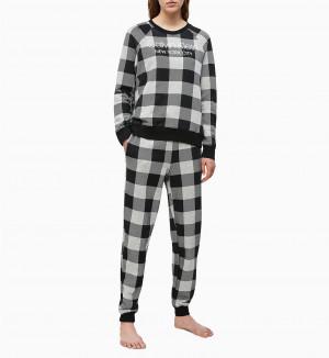 Dámská mikina QS6301E-2ZJ šedočerná - Calvin Klein šedo - černá