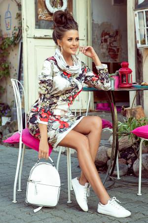 IRENE - Dámské šaty s rolákem a barevným vzorem 282-1