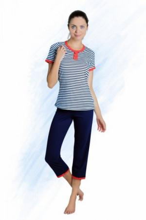 Sesto Senso Emma Dámské pyžamo XL tmavě modrá/proužky