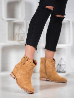 Klasické  kotníčkové boty hnědé dámské na klínku
