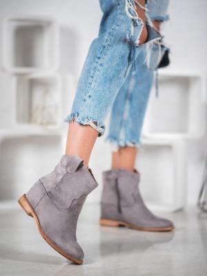 Luxusní  kotníčkové boty šedo-stříbrné dámské na klínku