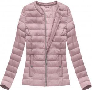 Prošívaná bunda ve starorůžové barvě s kulatým výstřihem (W73) růžová XXL (44)