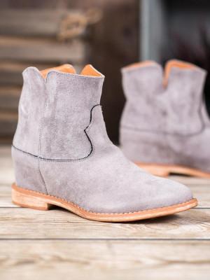 Exkluzívní  kotníčkové boty dámské šedo-stříbrné na klínku
