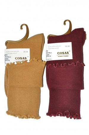 Dámské ponožky Cosas LM-6 Pruhovaná struktura  hnědá 39-41