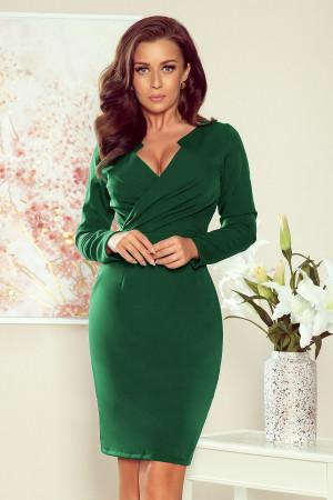 MIA - Dámské šaty v lahvově zelené barvě s přeloženým obálkovým výstřihem 272-3