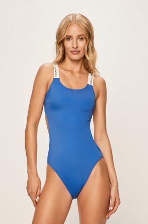 Jednodílné plavky KW0KW00678-CHQ modrobílá - Calvin Klein modro-bílá