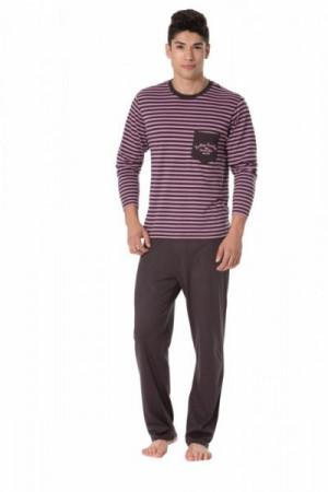 Pánské pyžamo Rossli SAM-PY-104 II XXL růžovo-grafitová (tmavě šedá)