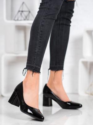 Exkluzívní černé dámské  lodičky na širokém podpatku