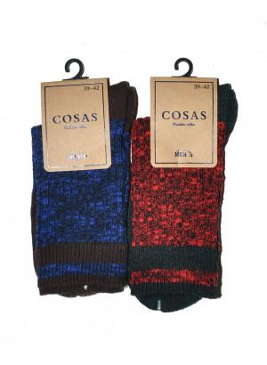 Pánské melanžové ponožky s pruhovanou strukturou Cosas L-2/2  bílá 39-42