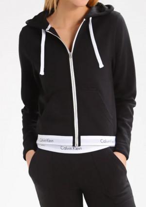 Dámská mikina s kapucí Calvin Klein QS5667E L Černá