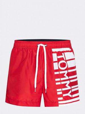 Pánské plavky UW0UW01471-611 červenobílá - Tommy Hilfiger červeno-bílá