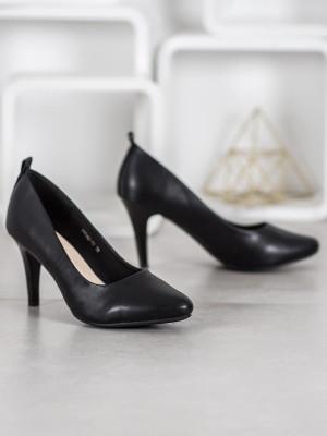 Trendy černé dámské  lodičky na jehlovém podpatku