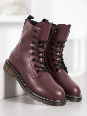 Designové  kotníčkové boty červené dámské na plochém podpatku