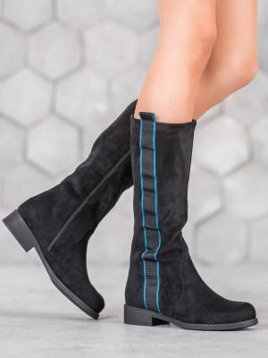 Trendy  kozačky černé dámské na plochém podpatku