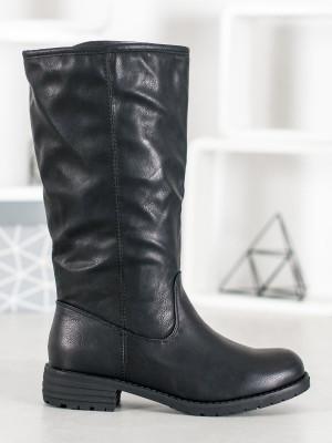 Moderní  kozačky černé dámské na plochém podpatku
