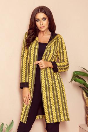 Dámský kabát  218-2  černo-žlutá
