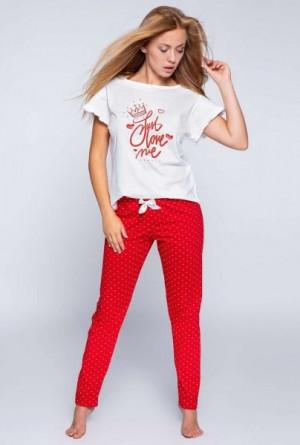 Sensis Maddy dámské pyžamo XL ecru-červená
