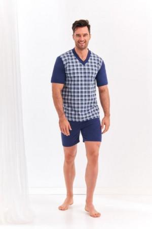 Taro Roman 002 'L20 Pánské pyžamo  L šedá-tmavě modrá