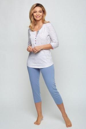 Cana 512 dámské pyžamo XL biały-denim jasny